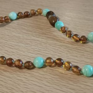 Cognac Amber and Amazonite
