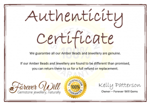 Authentic Baltic Amber certificate