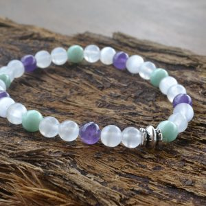 Senelite, Amethyst and Amazonite Bracelet