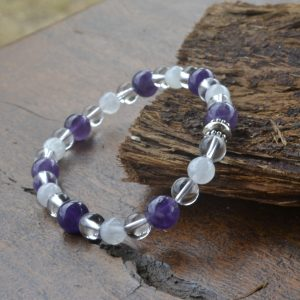 Clear Quartz Amethyst and Moonstone Bracelet