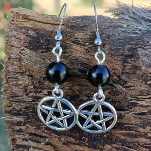 Onyx Earrings with Pentagram