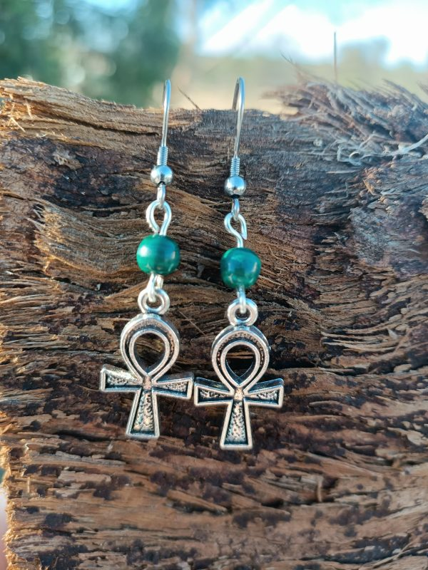 Malachite Earrings with Ankh