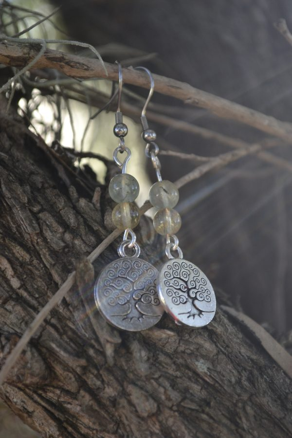 Prehnite and Citrine Earrings with Tree of Life