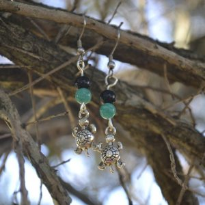 Onyx and Amazonite Earrings with Turtle