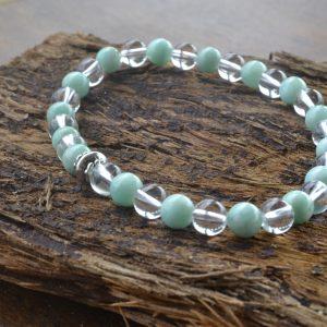 Amazonite and Clear Quartz Bracelet