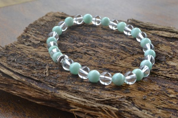 Amazonite and Clear Quartz Bracelet