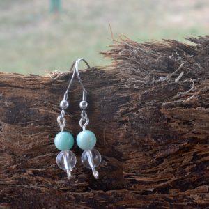 Amazonite and Clear Quartz Earrings