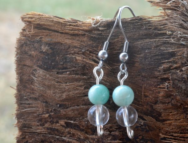 Amazonite and Clear Quartz Earrings
