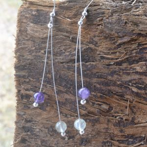 Amethyst and Prehnite Earrings