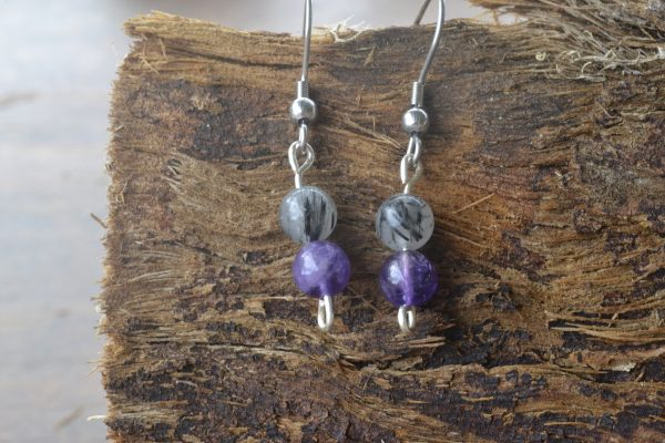 Amethyst and Tourmalinated Quartz Earrings