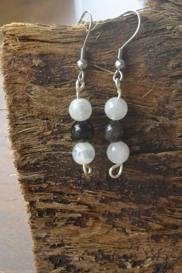 Moonstone and Obsidian Earrings