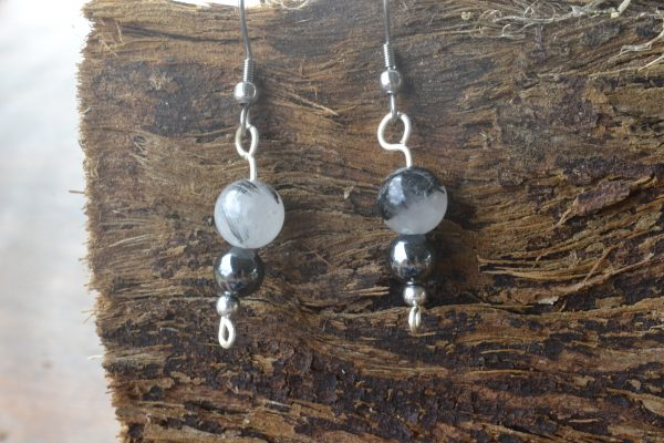 Tourmalinated Quartz and Hematite Earrings